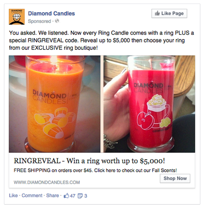 Online advertising Facebook promoted post example
