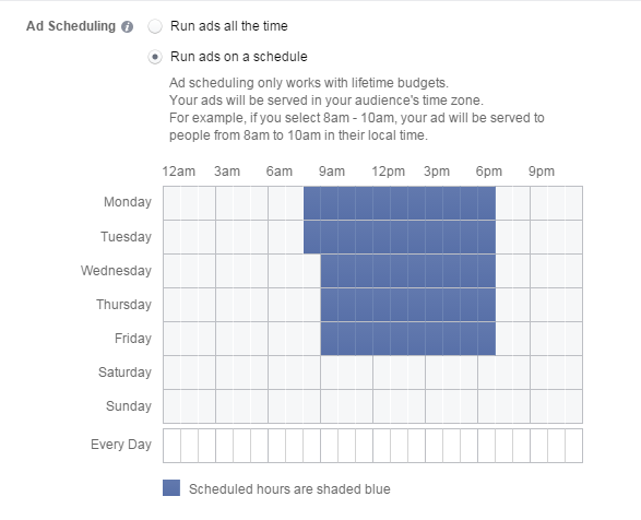Facebook remarketing ad schedule calendar