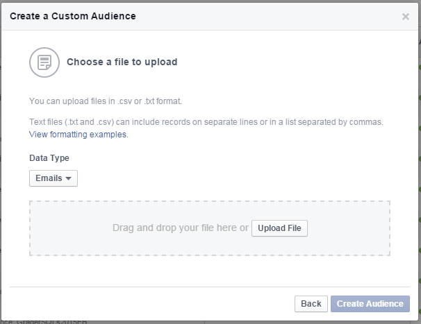 Facebook remarketing screenshot showing how to upload a list