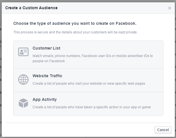Facebook remarketing create a custom audience