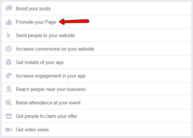 Facebook remarketing screenshot of promote your page