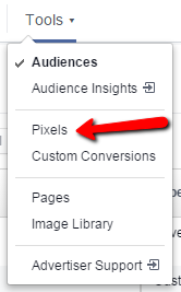 Facebook remarketing screenshot showing pixels