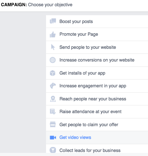 facebook video ads objective