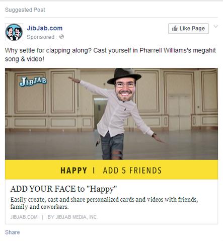 facebook landing page ad