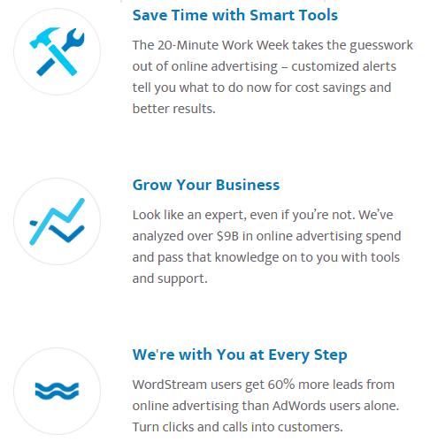 WordStream - Features vs Benefits WordStream Example