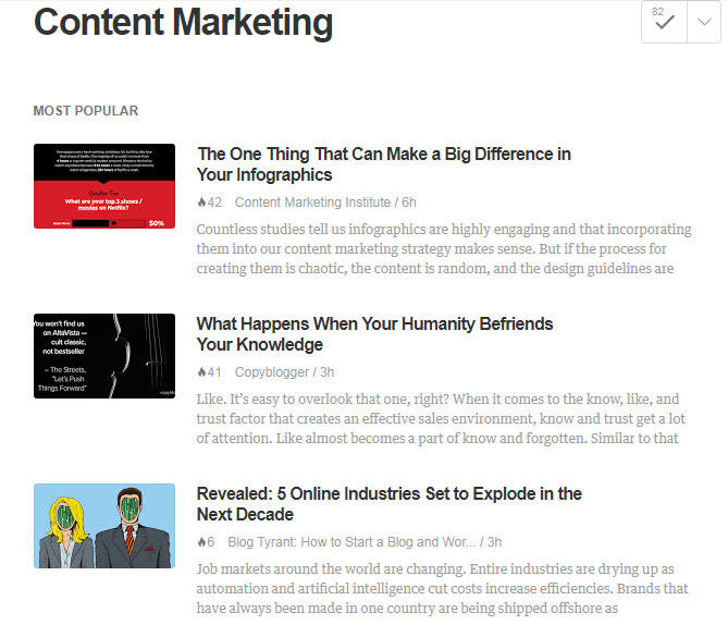 Find things to write about Feedly Content Marketing news page