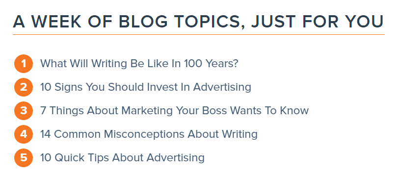 Find things to write about HubSpot blog topic generator example results