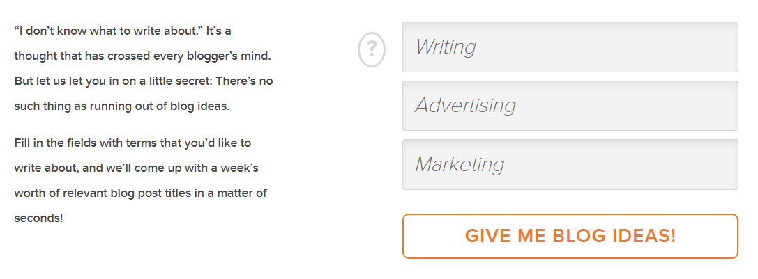 Find things to write about HubSpot blog topic generator screenshot