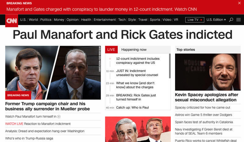 Find things to write about CNN news headlines Manafort indicted