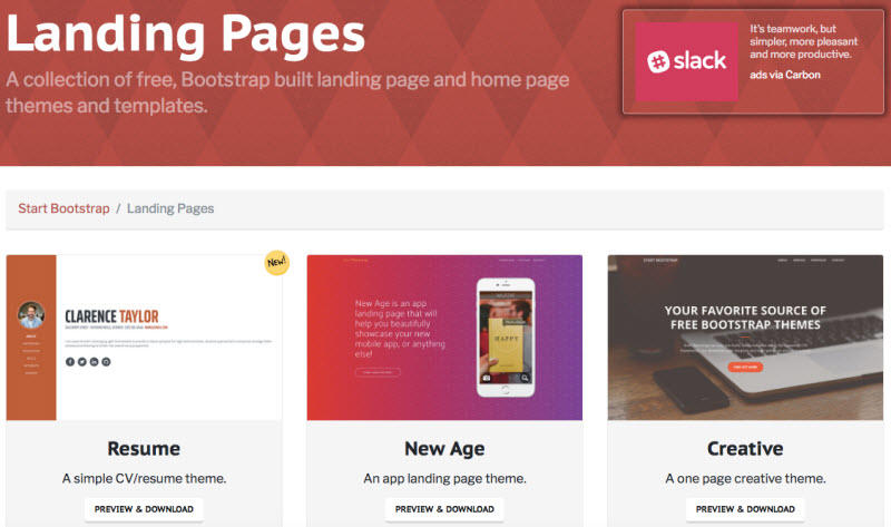 Free landing page templates Bootstrap landing pages