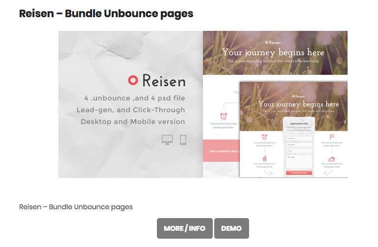 Landing page templates free Unbounce Reisen bundle