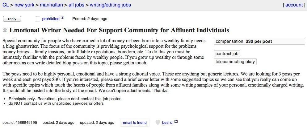 Freelance writing work terrible Craigslist job ad