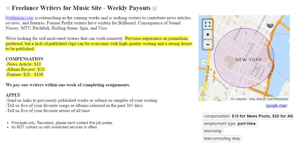 Freelance writing work terrible craigslist writing job ad