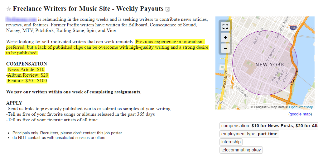 Freelance writing work terrible craigslist writing job ad