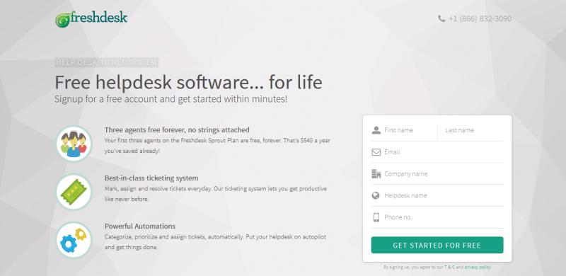 freshdesk landing page