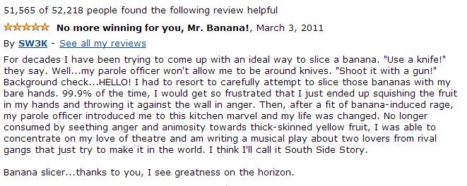 funny amazon review banana slicer