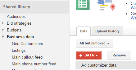 ad customizers data feed