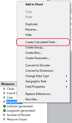 Create Calculated Field