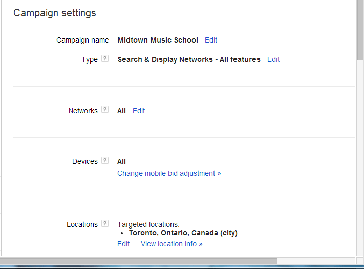 AdWords Geotargeting Settings