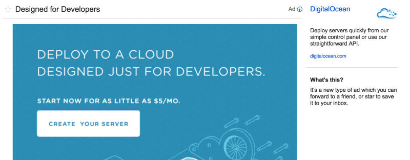 Gmail ad example SaaS startup