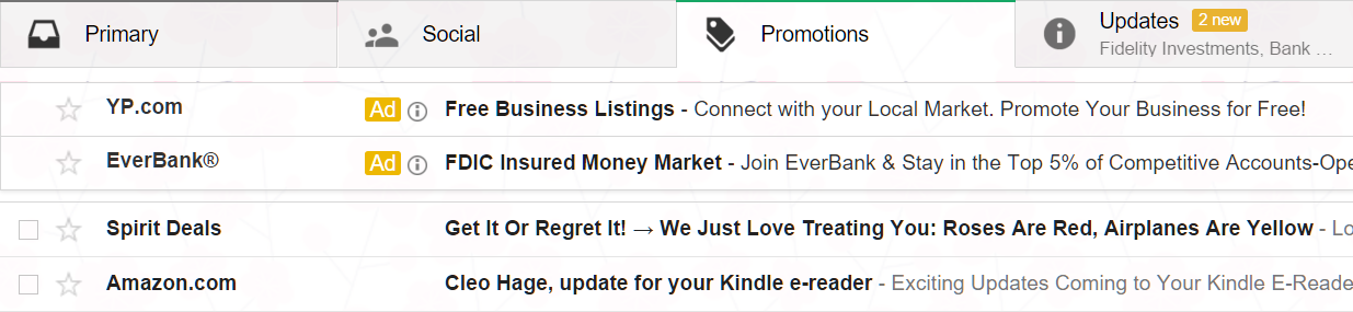 new gmail ads look