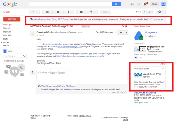 Gmail Advertising Example