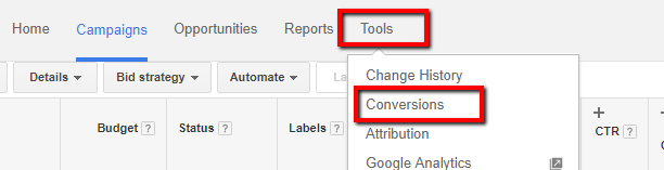 google adwords new conversion creation tab