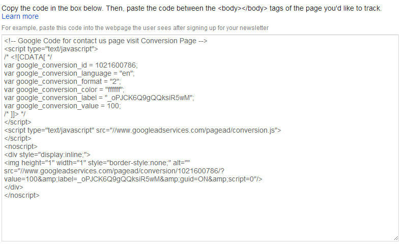 AdWords Conversion Tracking Code