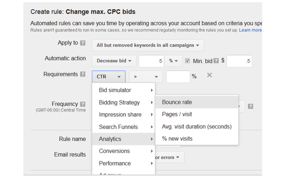 Google AdWords features automated bidding