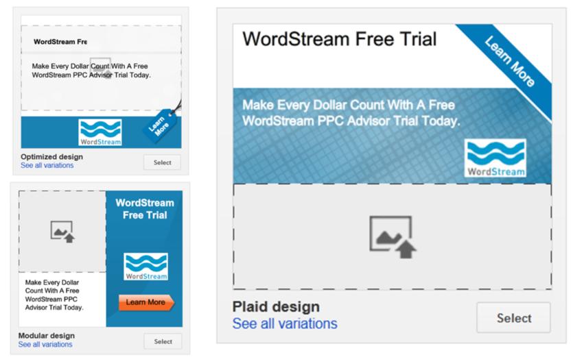 Google AdWords features WordStream display ad