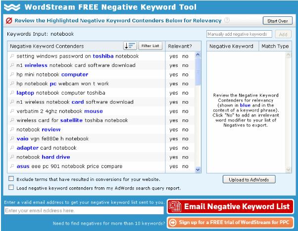 Google AdWords negative keyword list