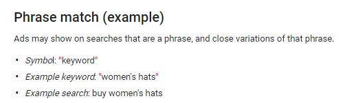 adwords phrase match keywords