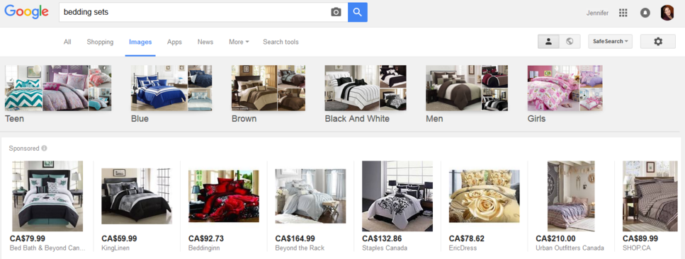 shopping ads in image results