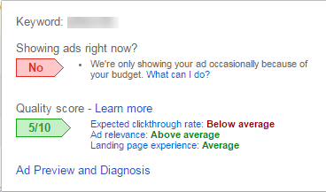 google adwords quality score status bubble i