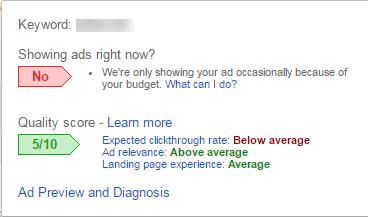 google adwords quality score status bubble i