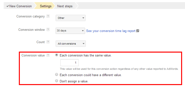 AdWords Conversion Value