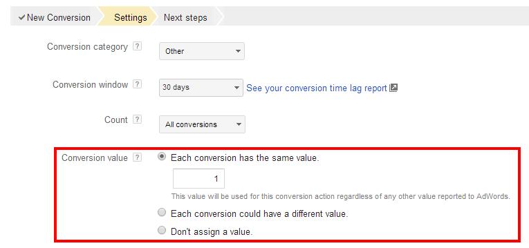 AdWords Conversion Value