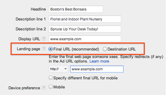 adwords destination urls
