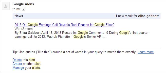 Google Alerts Emails