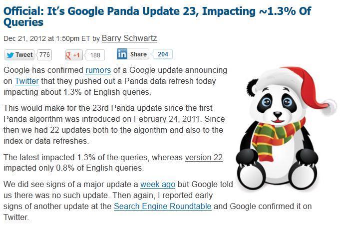 Google Panda Algorithm Update 22