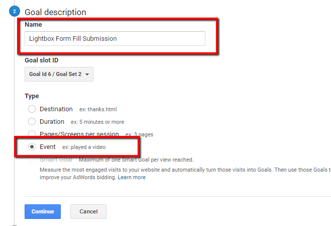 goal description in google analytics for conversion action