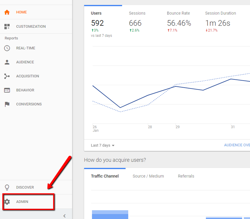 google analytics custom event tracking admin tab