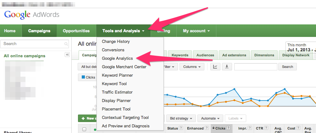 link adwords to analytics