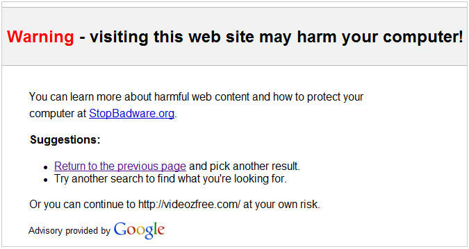 Google badware warning on an interstitial webpage