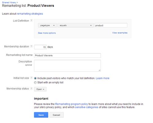 Google Dynamic Remarketing List