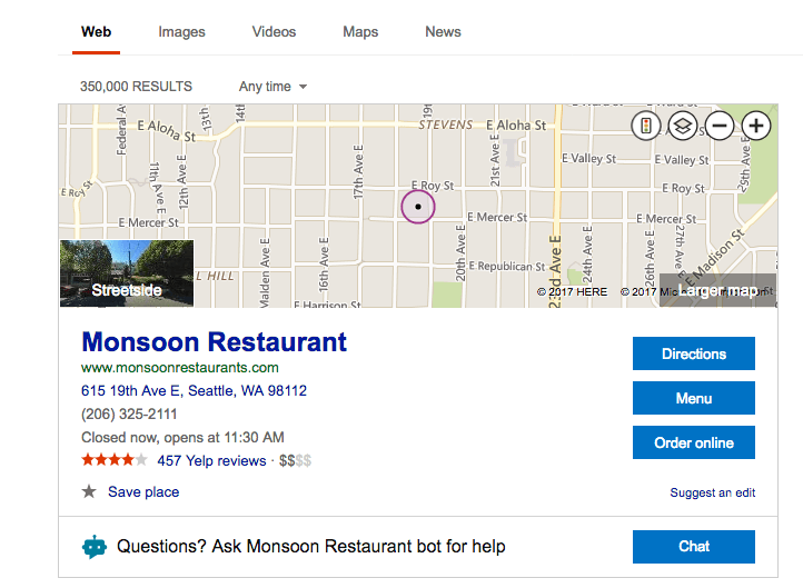 google food ordering map ads