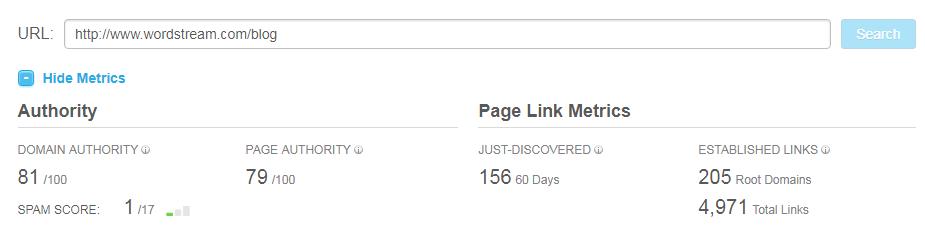 Google Fred Update Moz Open Site Explorer link authority example screenshot