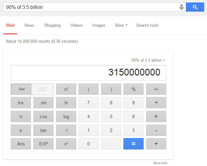 Google Hummingbird math calculation