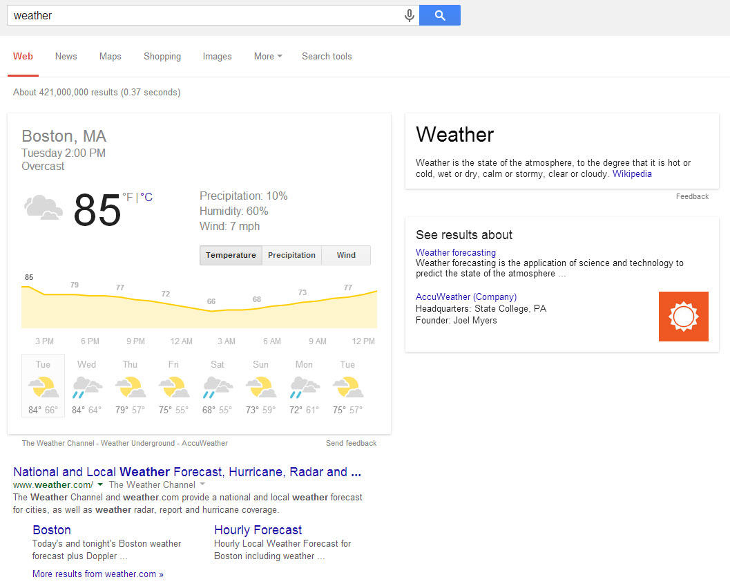 Google Hummingbird Weather Search Engine Results Page