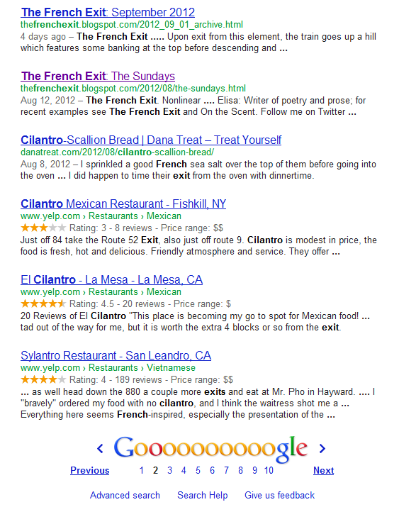 Google SERP fail